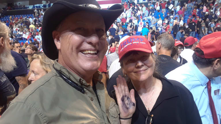 Will Hemingway and Linda Nix, Trump supporters from New Jersey, at the Trump Rally in Wilkes-Barre inPennsylvania.
