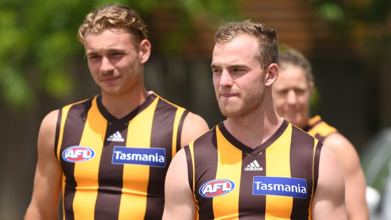Hawthorn's Tom Mitchell broke his leg at training.