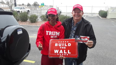 Trump supporters Audrey Johnson Scheper and Terry Barrett travelled from California and central Texas respectively to hear the President speak in El Paso.