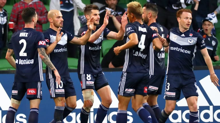 Doubling up: James Troisi celebrates after firing in Victory's second goal.