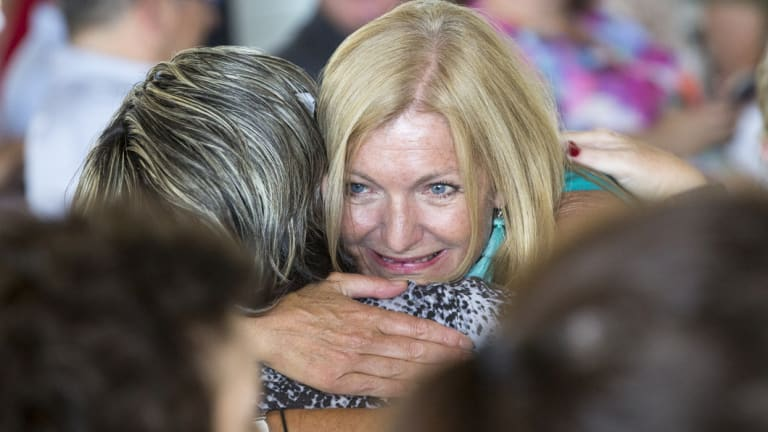 Fiona Patten celebrates with supporters on Tuesday afternoon.