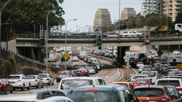 Traffic builds on the Cahill Expressway on Wednesday morning.