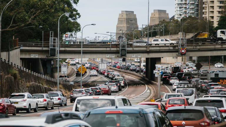 Traffic banked up on the Cahill Expressway at the height of the incident on the bridge.