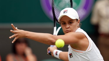 Momentum: Ash Barty winds up in her third-round defeat of Harriet Dart of Britain.