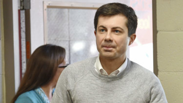 South Bend mayor Pete Buttigieg arrives to speak about his presidential run during the Democratic monthly breakfast in Greenville, South Carolina.