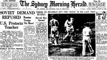 The front page of the Herald from August 16, 1948, carrying the news that Don Bradman was out for a duck in his final Test at The Oval.