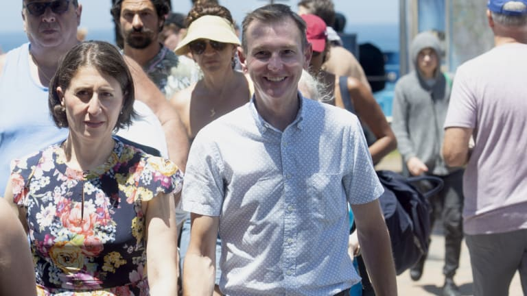 NSW Premier Gladys Berejiklian and Coogee MP Bruce Notley-Smith at Coogee Beach.