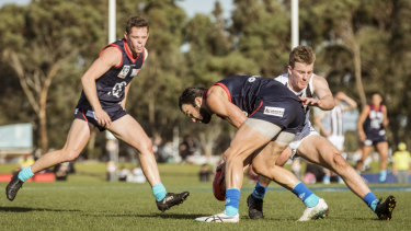 Committed: Jordan Lewis in action for Casey Demons against Collingwood in the VFL game at Casey Fields on Sunday.