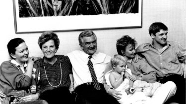 The Hawke family  in 1987.