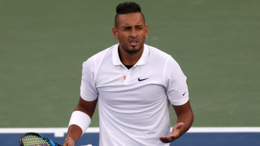 Nick Kyrgios in action during his second round match against Antoine Hoang.