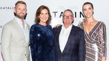Family business: James, Judy and Michael McMahon with Kate Dalgairns at Catalina's 25th anniversary celebrations on Thursday.