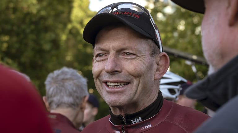 Former prime minister Tony Abbott was left with a fat lip after the attack.