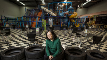 Linda Lin in her Crocs play centre in Ringwood, closed for 196 of the last 212 days.