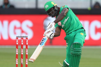 Andre Fletcher goes on the attack for the Melbourne Stars.