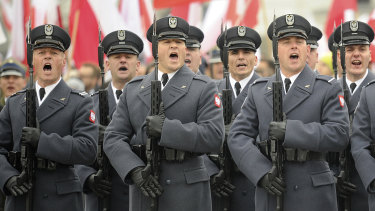 Polish Army soldiers during Independence Day celebrations on Sunday.
