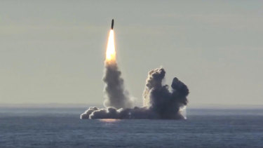 The Russian nuclear submarine Yuri Dolgoruky test-fires the Bulava missiles from the White Sea in 2018.