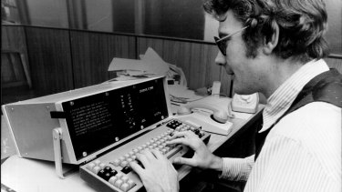 """Hicks with one of Fairfax's first """"portable"""" UDIS - the vile Teleram in 1978."""