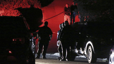 Contra Costa County Sheriff deputies investigate a multiple shooting in Orinda, California.