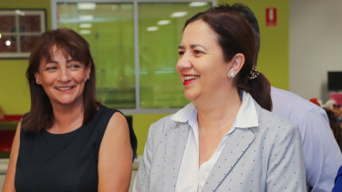 Queensland Premier Annastacia Palaszczuk (right) with Townsville Mayor Jenny Hill (left) at Wulguru State School in 2019.