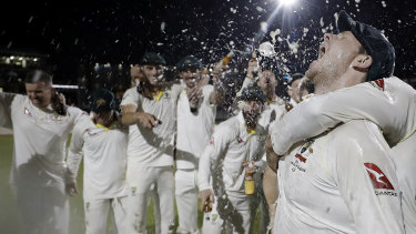 Job done but still more to play for: Justin Langer rated the Australian celebrations relatively low key.