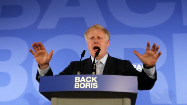 Boris Johnson speaks at the official launch of his leadership campaign on Wednesday.