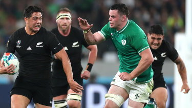 All Blacks outside-centre Anton Lienert-Brown breaks through the Ireland defence.