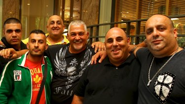 "From left: Abdul ""Zee"" Khan, Alex ""Little Al"" Taouil, Ray ""Rugby"" Younan, Mick Gatto, John Khoury and Angelo ""Fat Ange"" Vendittin in Sydney in 2012."