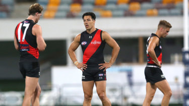 Bombed out: The Cats made mincemeat of an insipid Essendon at the Gabba on Sunday.