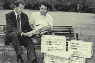 Senator Don Chipp and Democrat candidate Richard Jones with a petition against Canada hunting seals in 1984.