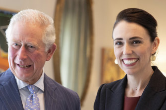 All smiles for Britain's Prince Charles and New Zealand Prime Minister Jacinda Ardern.