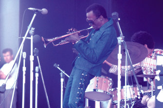 Miles Davis at the Newport Festival two years before he recorded Jack Johnson.