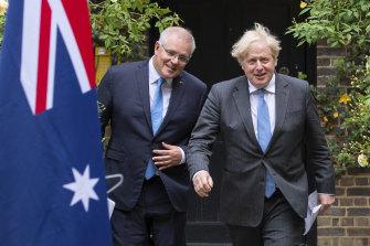 Prime Minister Scott Morrison and British Prime Minister Boris Johnson in the garden of 10 Downing Street in June.