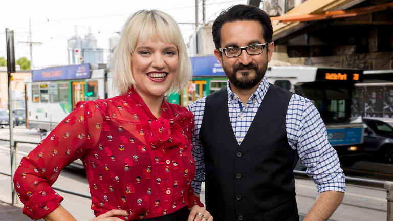 Jactina Parsons, left, and Sami Shah from ABC Radio Melbourne.