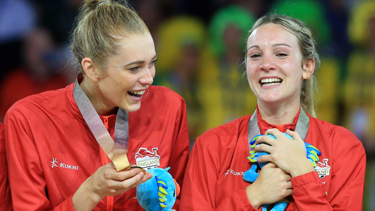 Natalie Haythornthwaite (right) will team up with fellow Commonwealth gold winner Helen Housby at the NSW Swifts.
