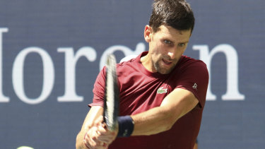 Novak Djokovic practices in New York ahead of the US Open.