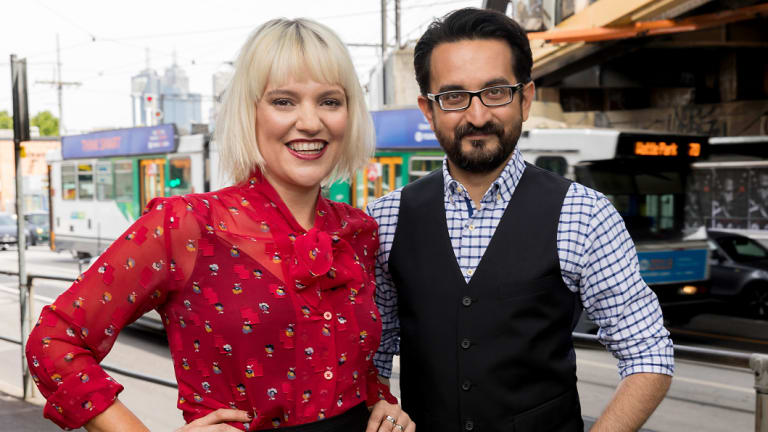 Jacinta Parsons, left, and Sami Shah from ABC Radio Melbourne.