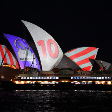 The Everest barrier draw was projected onto the Sydney Opera House.