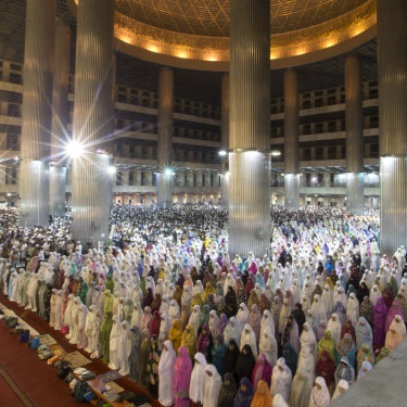 Muslims in Jakarta's Istiqlal Mosque perform the taraweeh evening prayer for Ramadan.