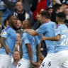 City celebrate Gabriel Jesus' winner, which was later disallowed.
