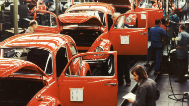 The Beetle in production in 1973.
