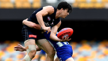 True Blue: Matthew Kennedy in action against North Melbourne.
