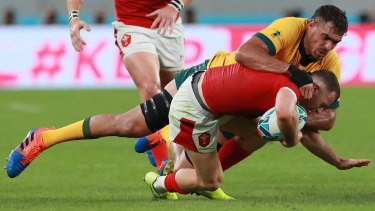 Rory Arnold says the Wallabies' big forwards are on high alert for tackle height.