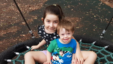 Lucas with sister Abigail, who also had a heart scare, though hers didn't result in any problems.