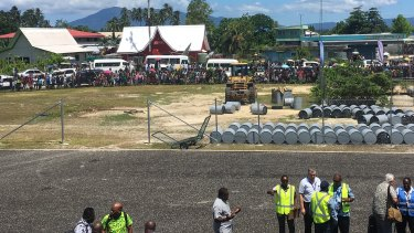 Thousands of locals greet the first international airliner service to Munda.