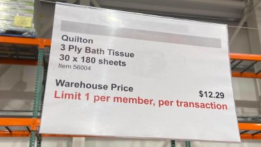 A sign at Costco Marsden Park limited Quilton bath tissue to one per customer.
