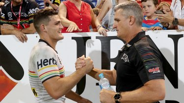 Ivan Cleary's reunion with son Nathan, left, at Penrith has already had its ups and downs.