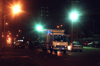 The scene in Cochranes Road, Moorabbin, in 1998 after the two officers were killed.