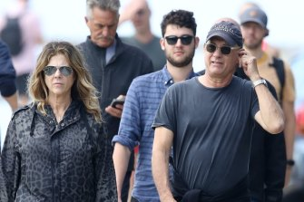 Rita Wilson and Tom Hanks photographed in Sydney last week.