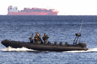 An Australian Army vessel patrols the waters near the Norwegian freighter Tampa in 2001.