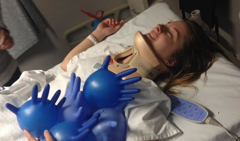 Jessica from Melbourne suffered a neck injury at a trampoline park.